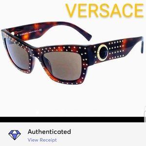 NIB-*AUTH* VERSACE Havana Brwn Acetate Sunglasses